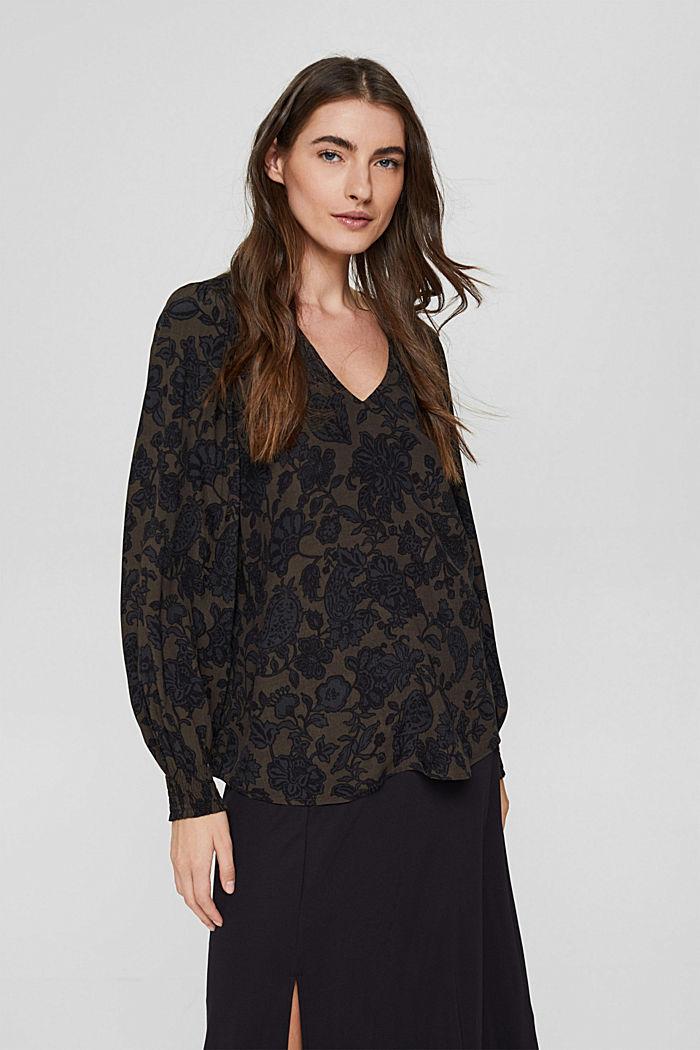 Bluse mit Blumen-Print und LENZING™ ECOVERO™, DARK BROWN, detail image number 0