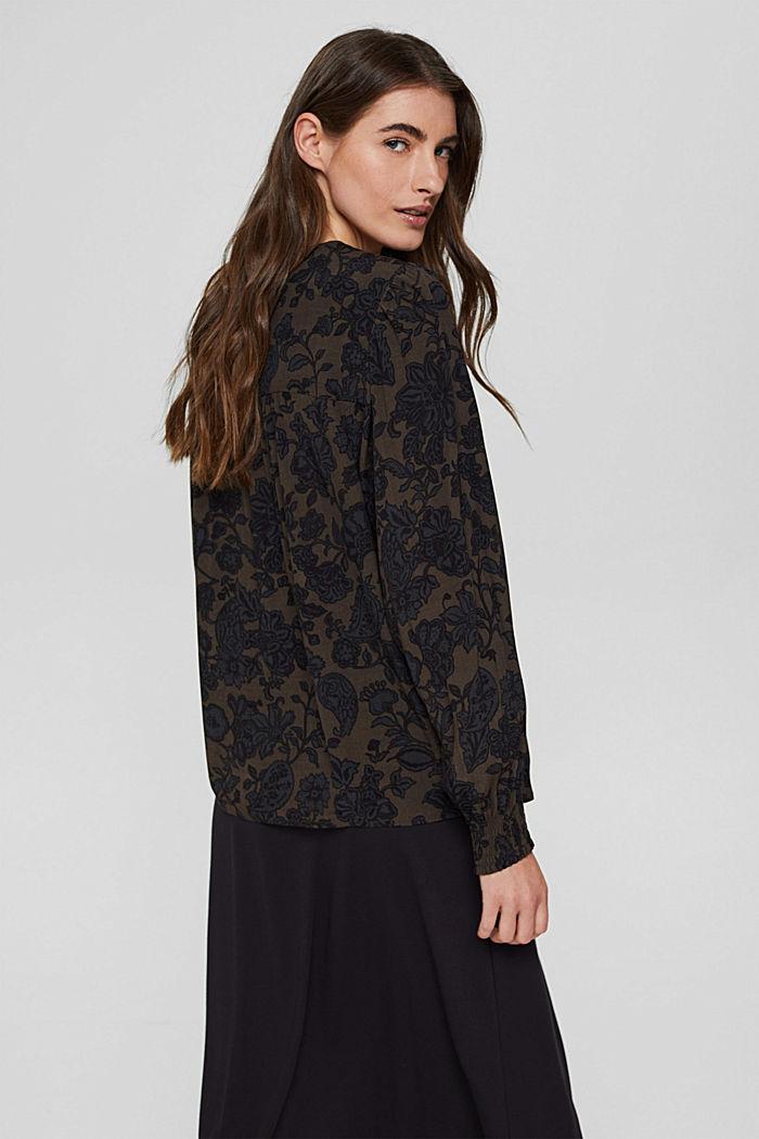 Bluse mit Blumen-Print und LENZING™ ECOVERO™, DARK BROWN, detail image number 3
