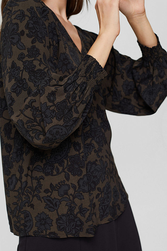 Bluse mit Blumen-Print und LENZING™ ECOVERO™, DARK BROWN, detail image number 2