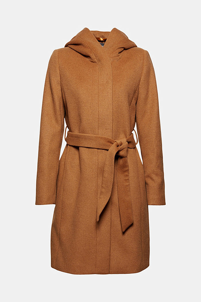 Recycled: wool blend coat with a hood