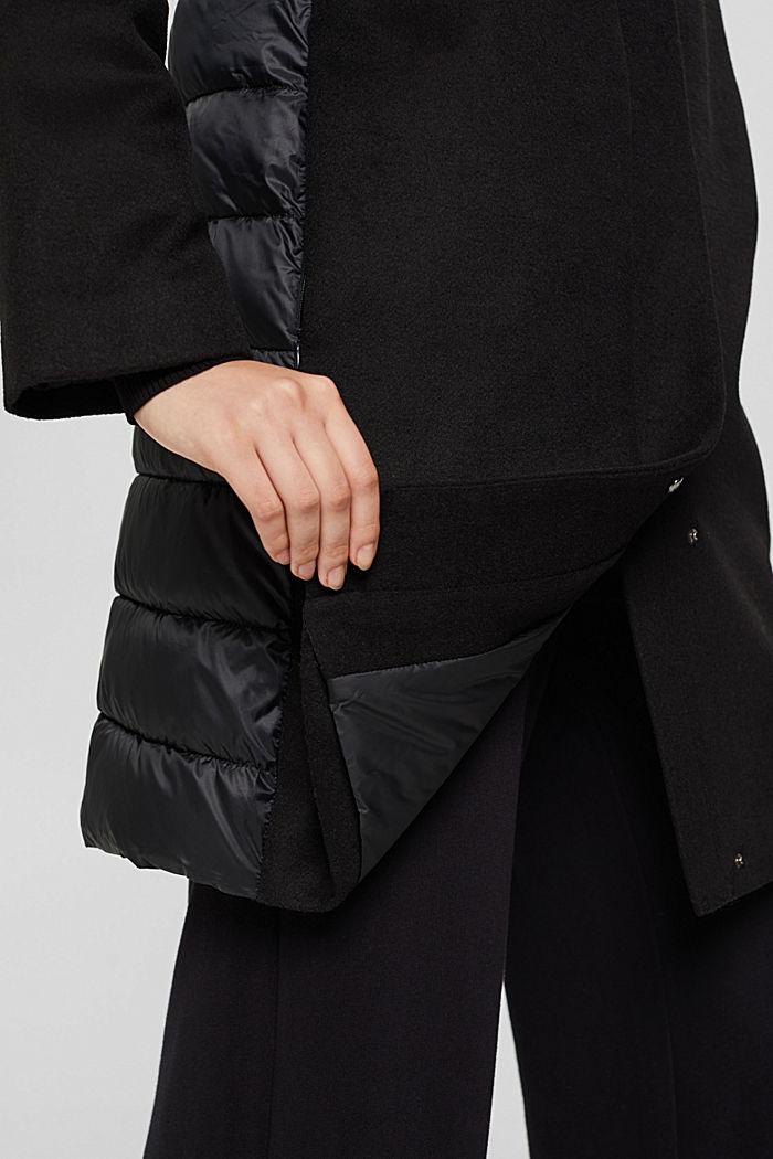 Egg-shaped mantel van een materiaalmix, 3M™ Thinsulate™, BLACK, detail image number 2