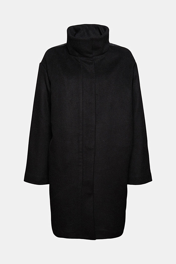 Egg-shaped mantel van een materiaalmix, 3M™ Thinsulate™, BLACK, detail image number 5