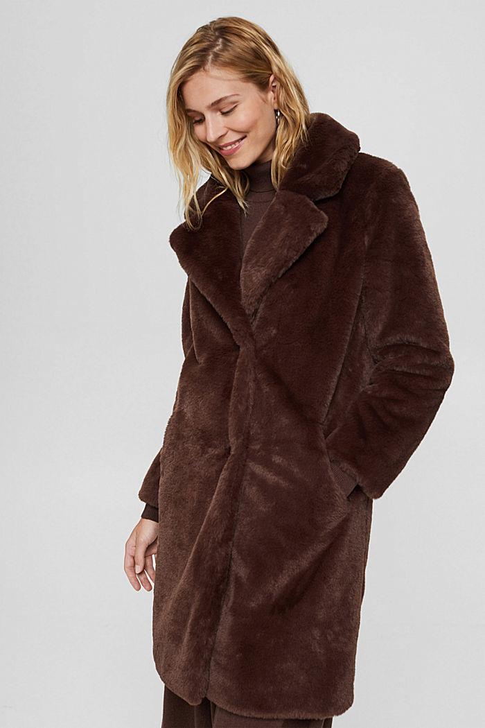 Gerecycled: heerlijk zachte mantel van imitatiebont, DARK BROWN, detail image number 0