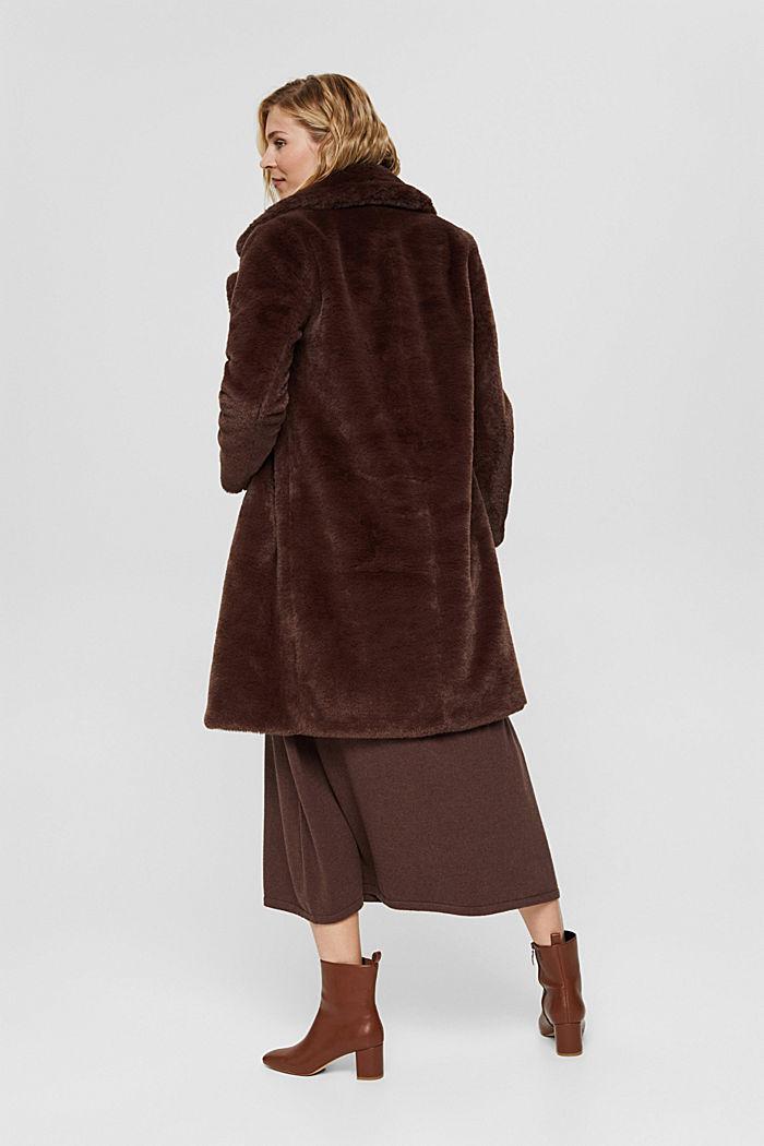 Gerecycled: heerlijk zachte mantel van imitatiebont, DARK BROWN, detail image number 3