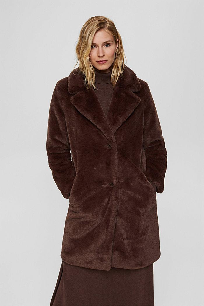 Gerecycled: heerlijk zachte mantel van imitatiebont, DARK BROWN, detail image number 5
