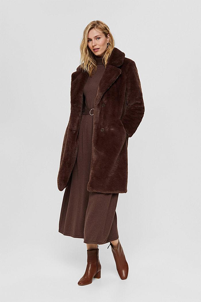 Gerecycled: heerlijk zachte mantel van imitatiebont, DARK BROWN, detail image number 1