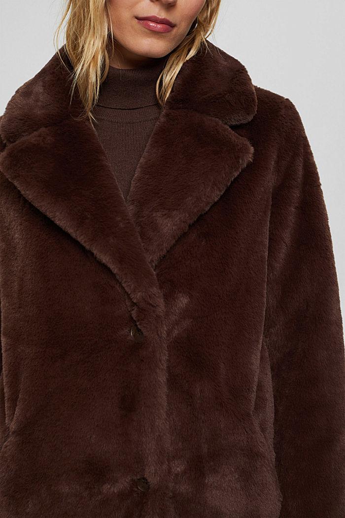Gerecycled: heerlijk zachte mantel van imitatiebont, DARK BROWN, detail image number 2