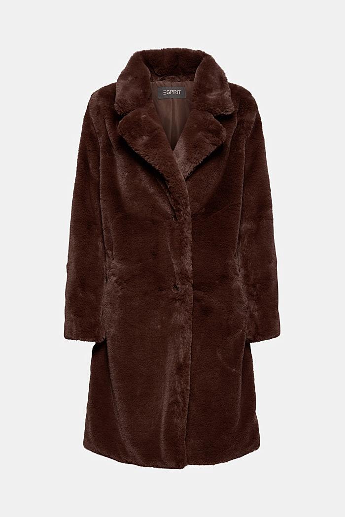 Gerecycled: heerlijk zachte mantel van imitatiebont, DARK BROWN, detail image number 7
