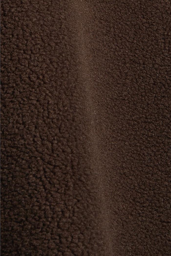 Mit Wolle: Mantel in Shearling-Optik, DARK BROWN, detail image number 4