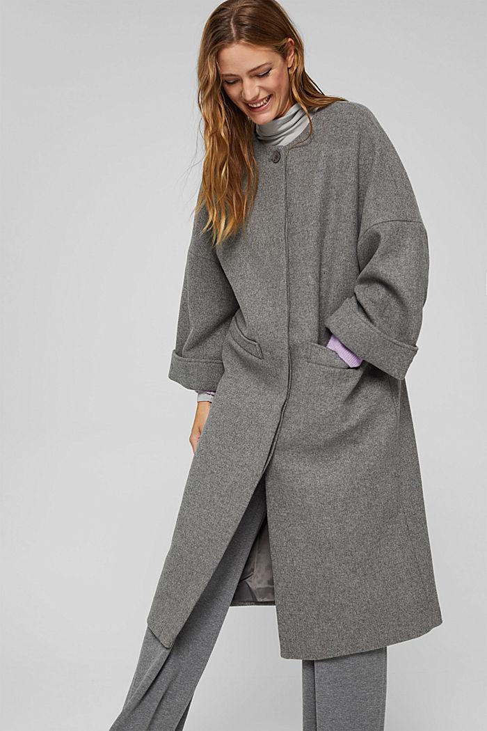 Aus Woll-Mix: langer Mantel, LIGHT GREY, detail image number 0