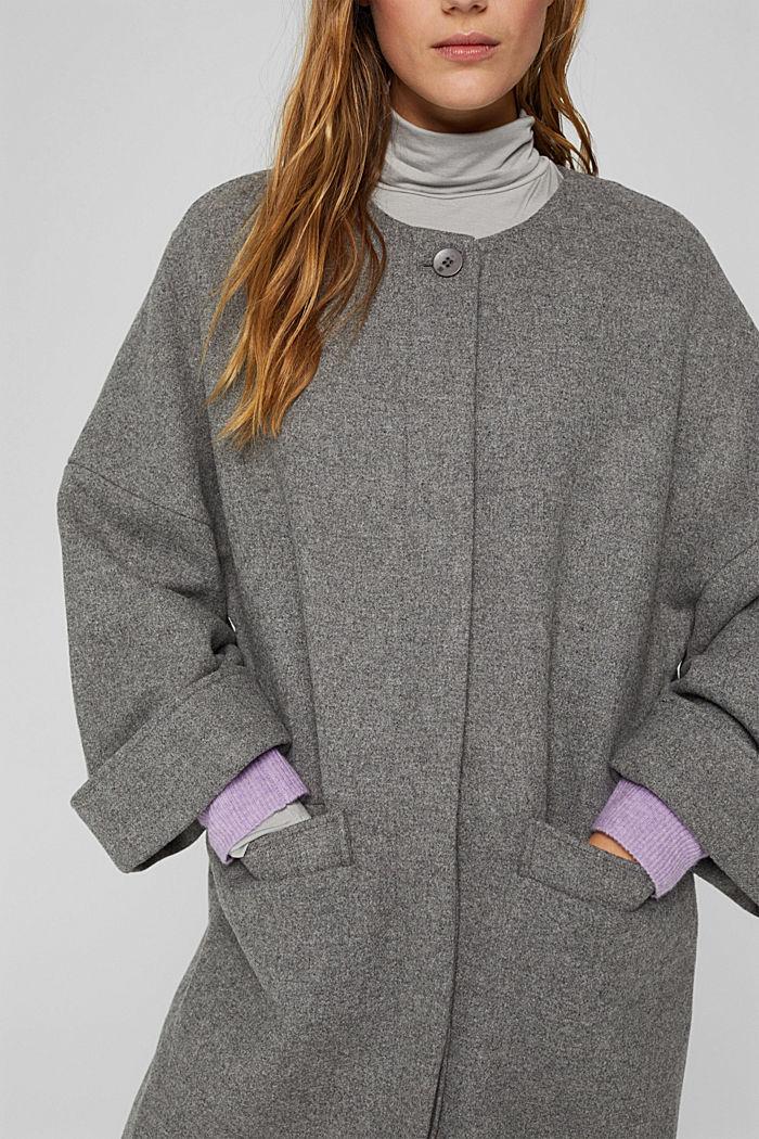 Aus Woll-Mix: langer Mantel, LIGHT GREY, detail image number 2