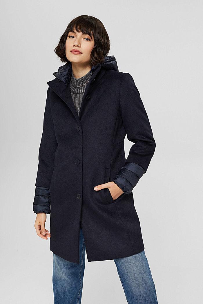 Manteau en mélange de matières, garni de 3M™ Thinsulate™, NAVY, detail image number 0