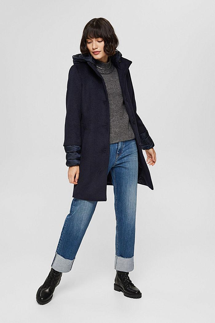 Manteau en mélange de matières, garni de 3M™ Thinsulate™, NAVY, detail image number 1