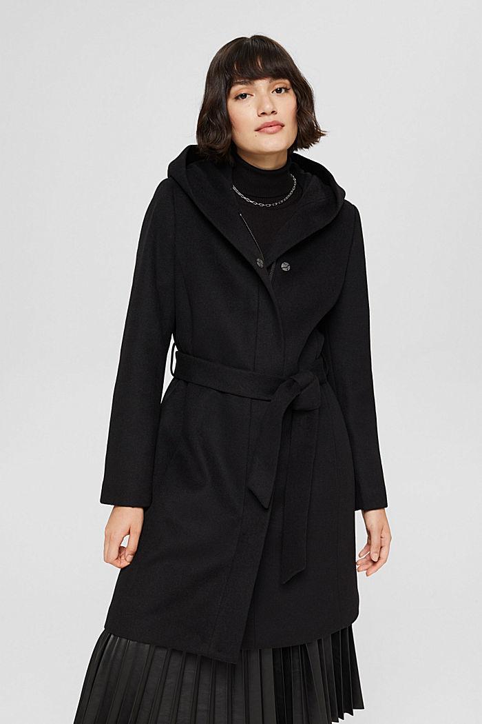 Aus recyceltem Woll-Mix: Mantel mit Kapuze, BLACK, detail image number 0