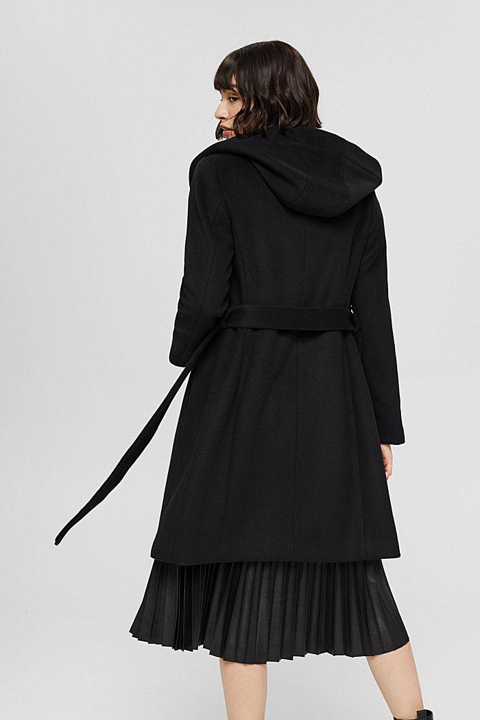 Aus recyceltem Woll-Mix: Mantel mit Kapuze, BLACK, detail image number 3