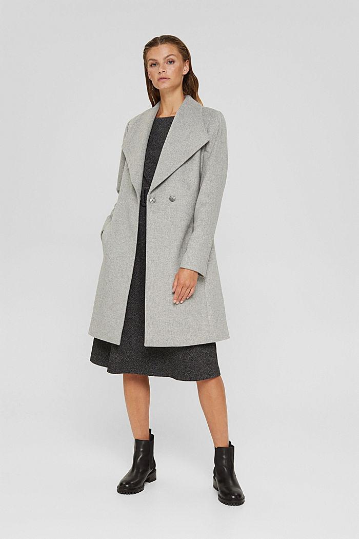 À teneur en laine: le manteau à grand col, LIGHT GREY, detail image number 1
