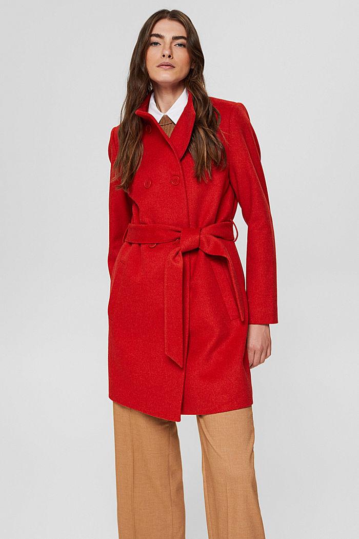 En matière recyclée: le manteau en laine mélangée à ceinture, ORANGE RED, detail image number 0
