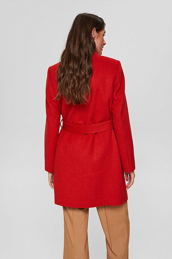 Recycelt: Woll-Mix Mantel mit Gürtel, ORANGE RED, detail image number 3