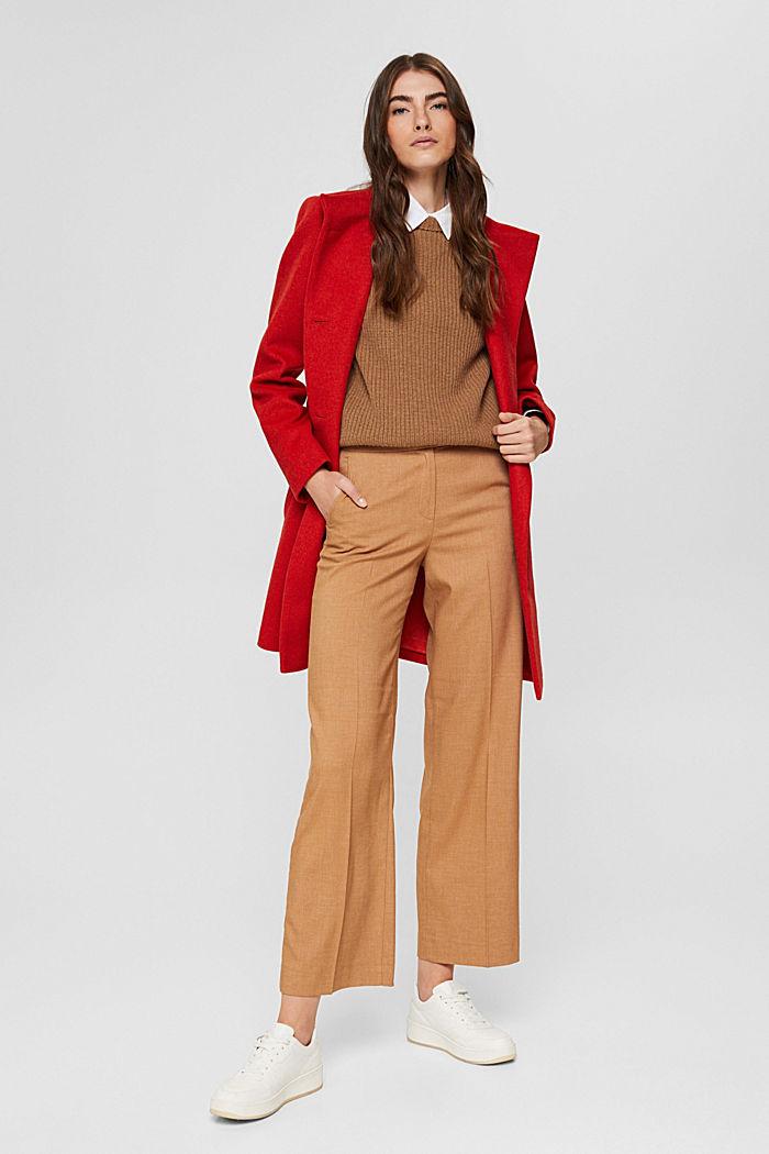 En matière recyclée: le manteau en laine mélangée à ceinture, ORANGE RED, detail image number 1