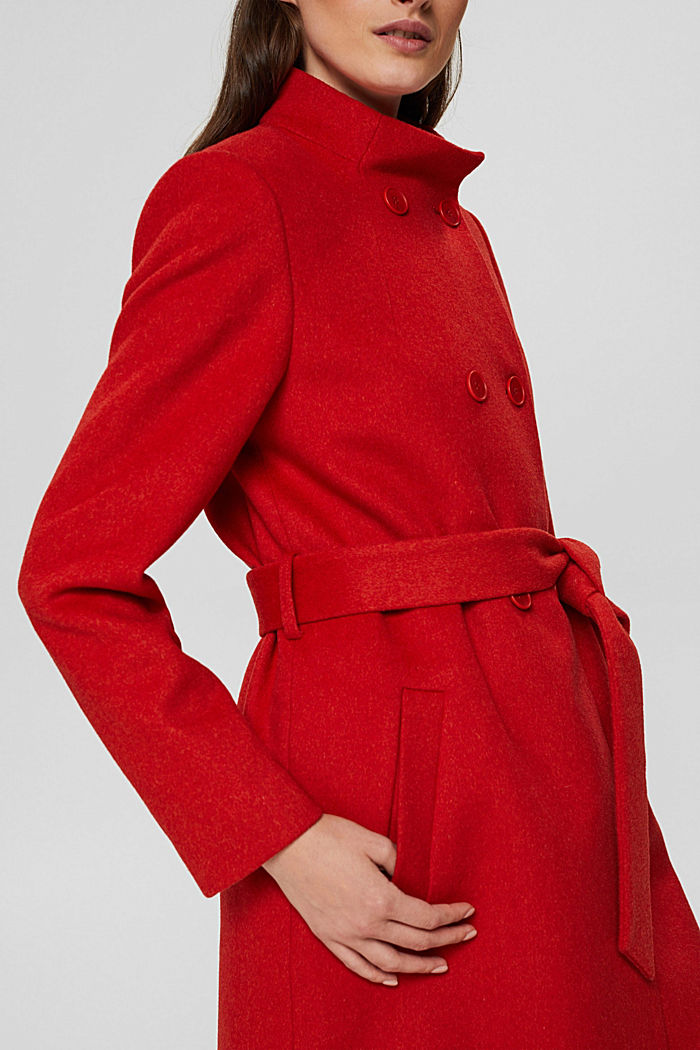 Recycelt: Woll-Mix Mantel mit Gürtel, ORANGE RED, detail image number 2