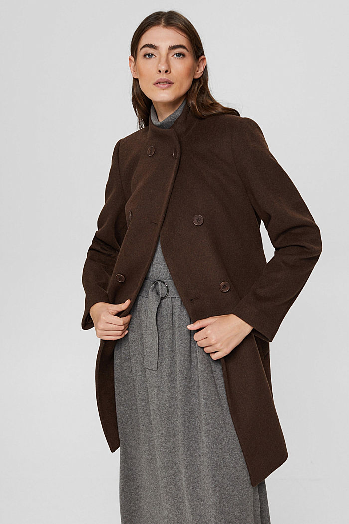 Coats woven straight, DARK BROWN, detail image number 0