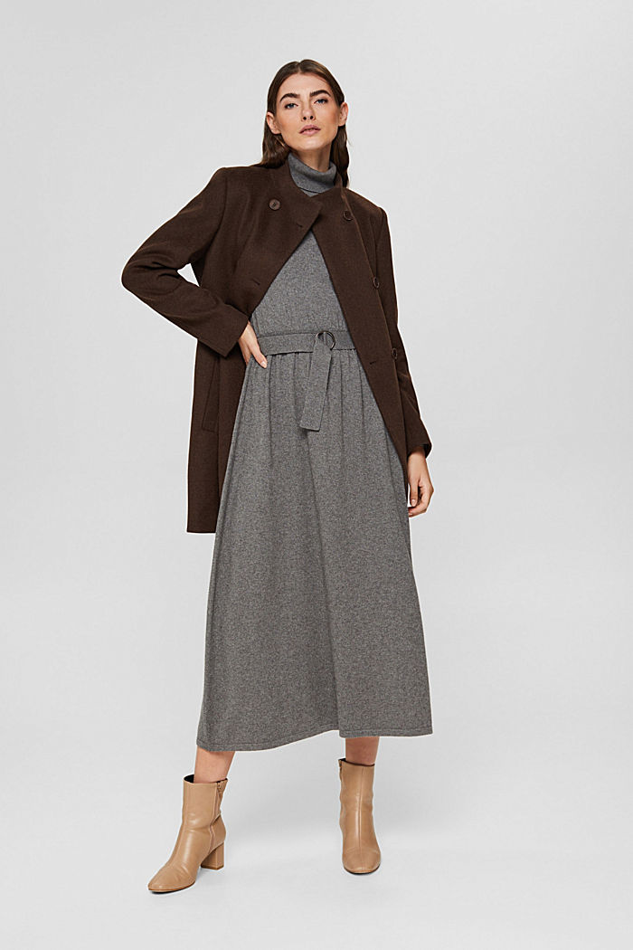 Coats woven straight, DARK BROWN, detail image number 1