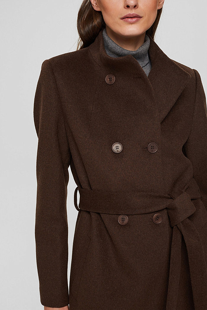 Coats woven straight, DARK BROWN, detail image number 2