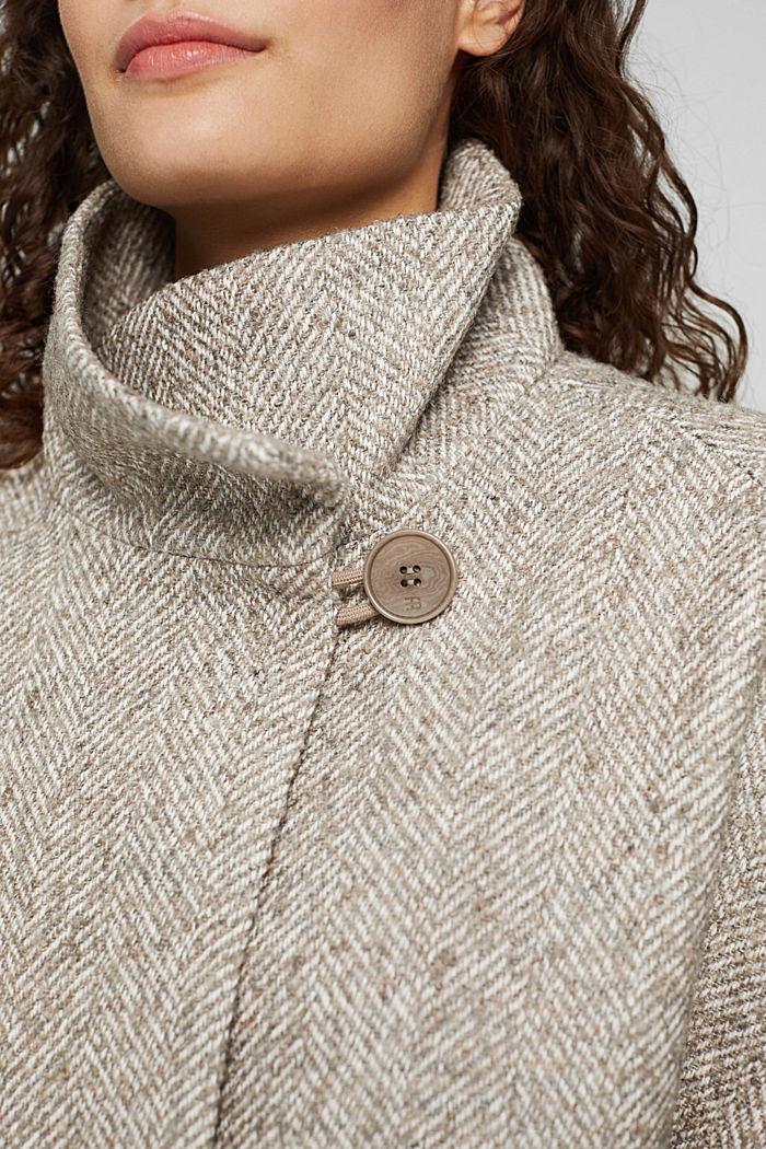 Met wol: opstaande kraag met gebreide boord, TAUPE, detail image number 2
