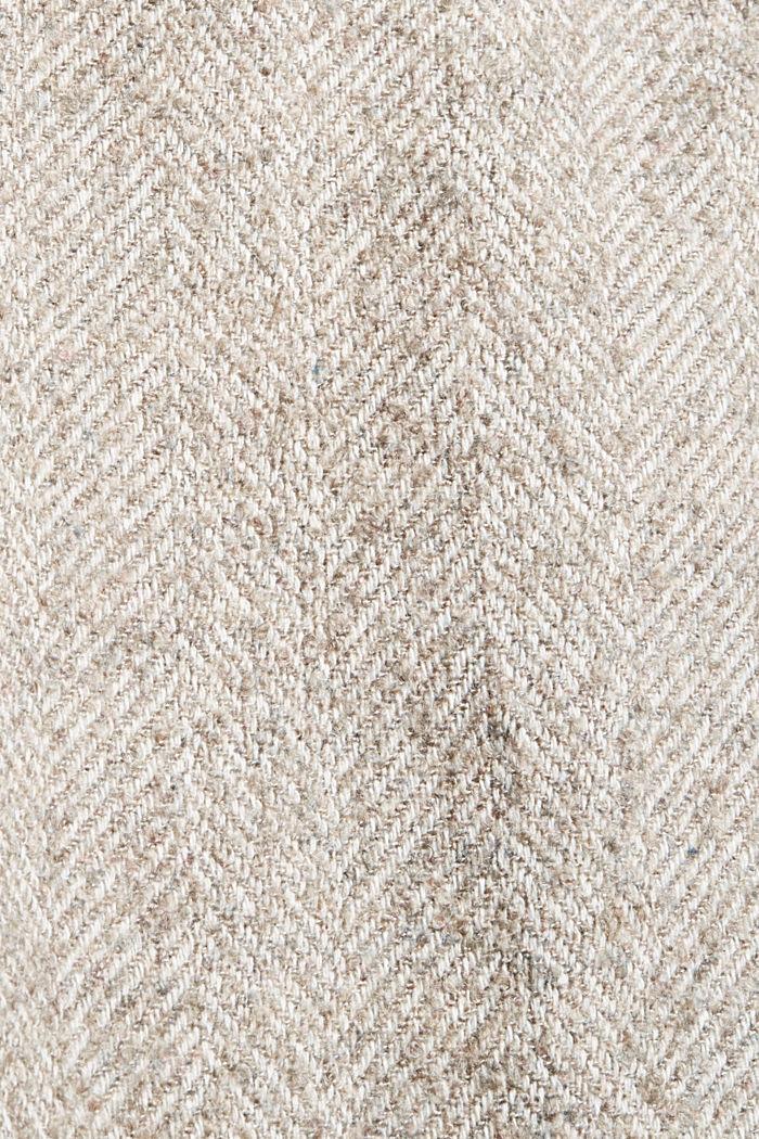 Met wol: opstaande kraag met gebreide boord, TAUPE, detail image number 4