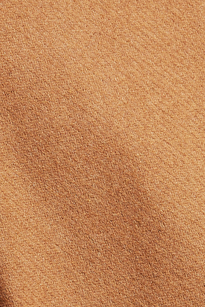 Recycelt: langer Woll-Mix Mantel, CARAMEL, detail image number 4