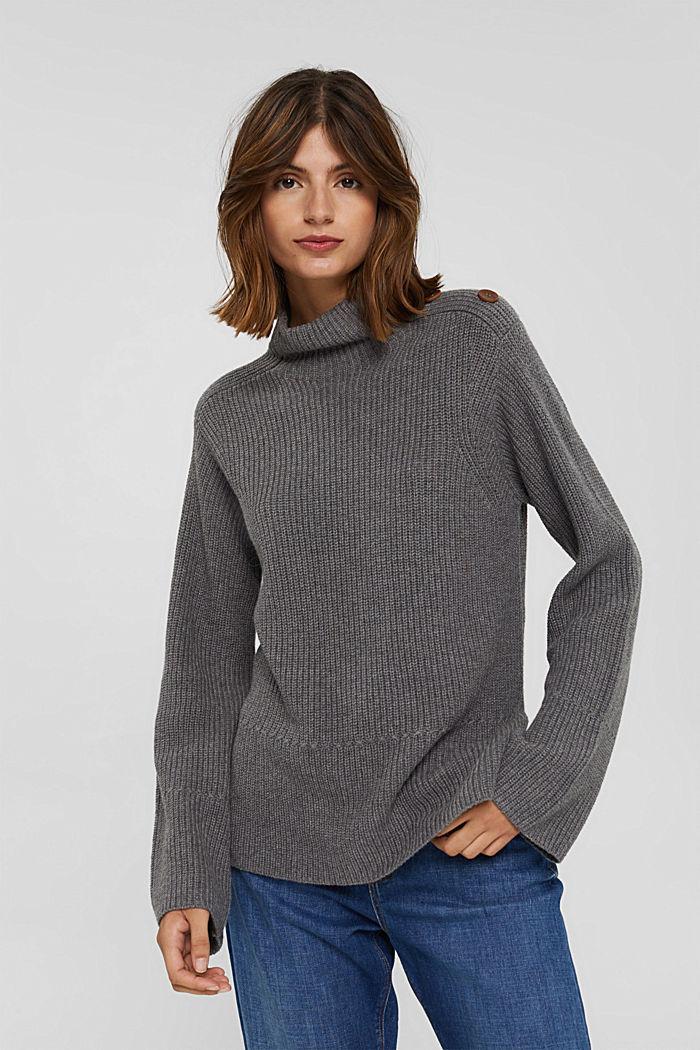 Mit Kaschmir/Wolle: Pullover mit Knopfleiste, GUNMETAL, detail image number 0