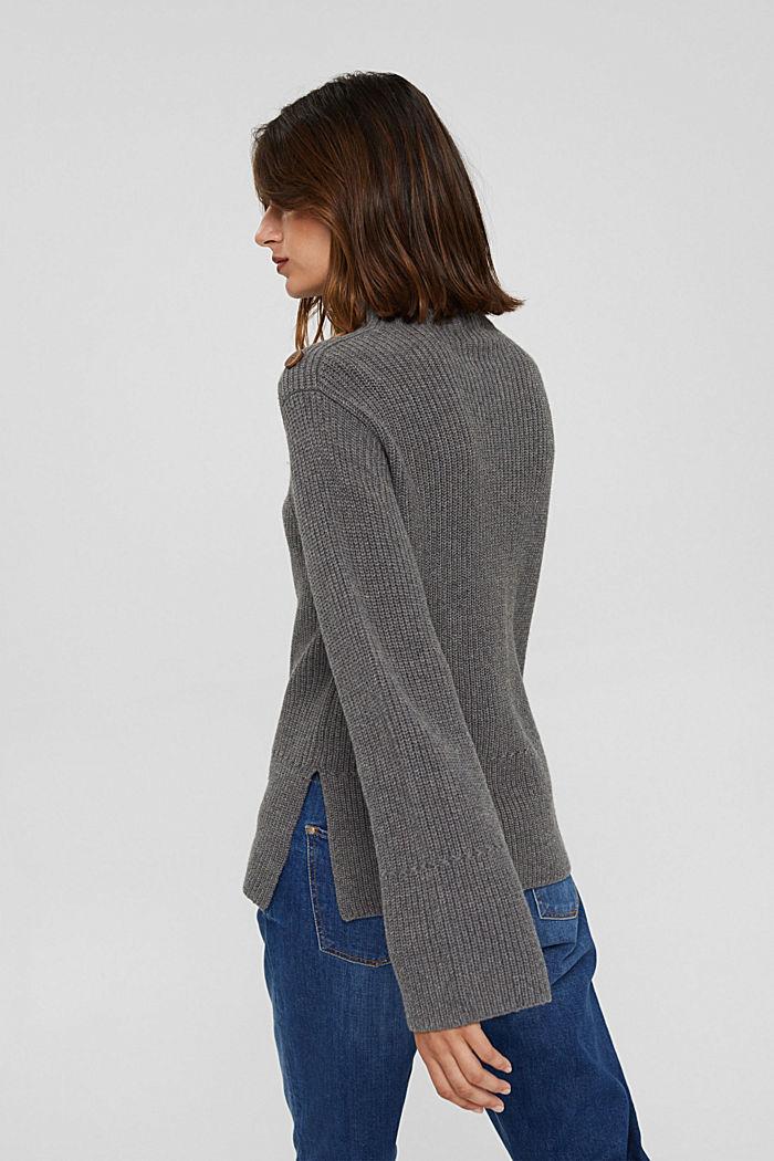 Mit Kaschmir/Wolle: Pullover mit Knopfleiste, GUNMETAL, detail image number 3