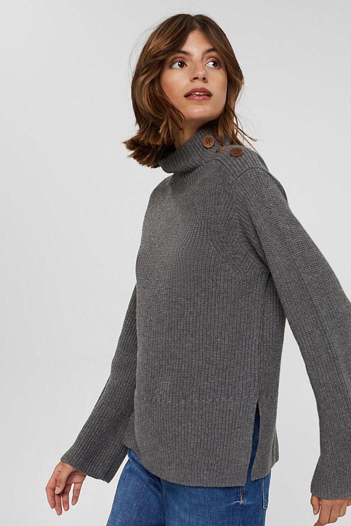 Mit Kaschmir/Wolle: Pullover mit Knopfleiste, GUNMETAL, detail image number 6