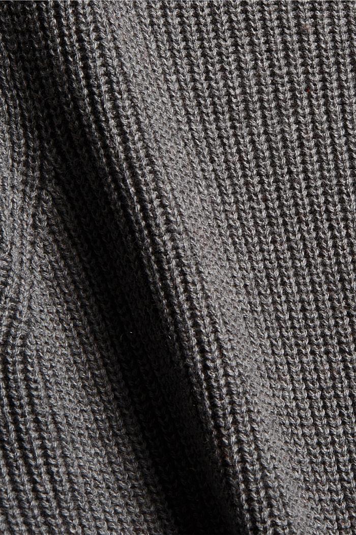 Mit Kaschmir/Wolle: Pullover mit Knopfleiste, GUNMETAL, detail image number 4