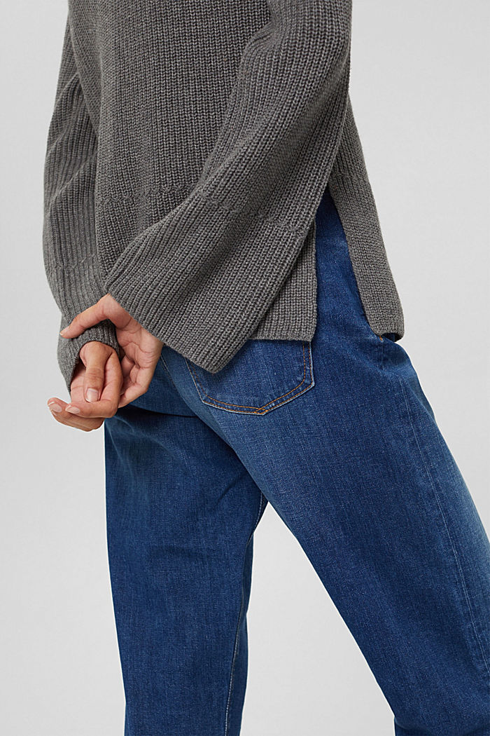 Mit Kaschmir/Wolle: Pullover mit Knopfleiste, GUNMETAL, detail image number 5