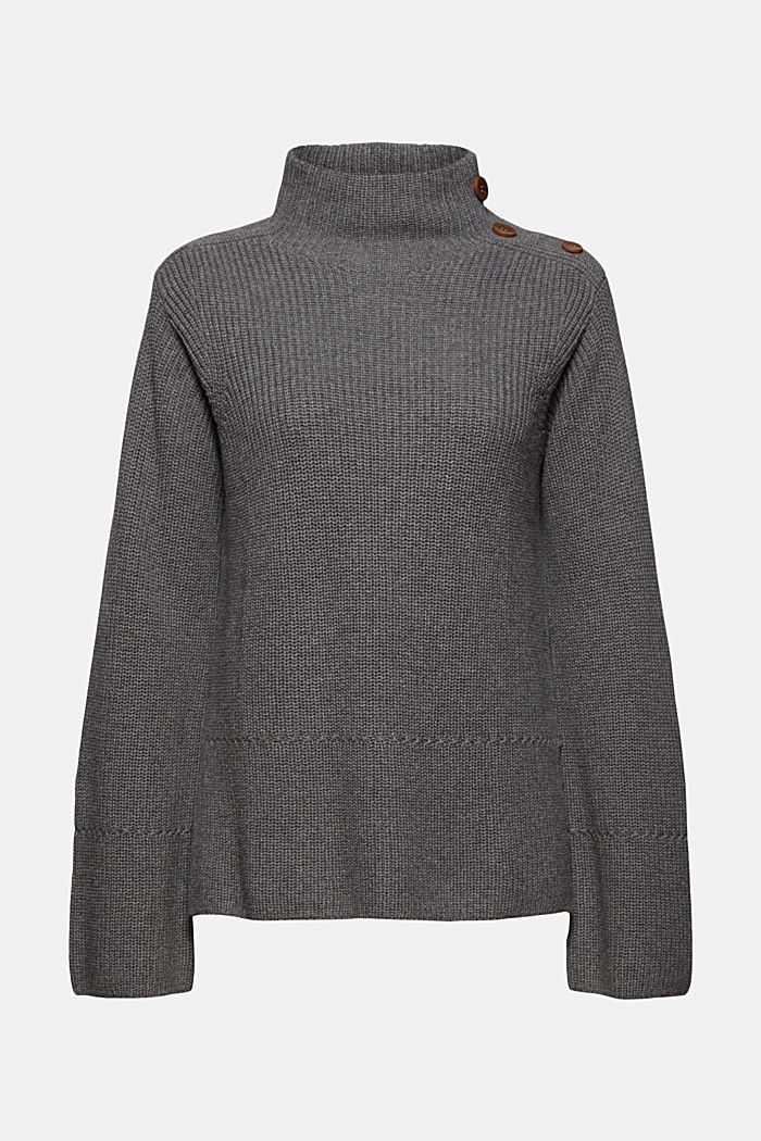 With cashmere and wool: jumper with button placket
