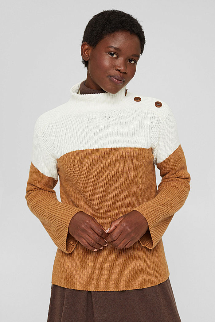 Mit Kaschmir/Wolle: Pullover mit Knopfleiste, OFF WHITE, detail image number 0