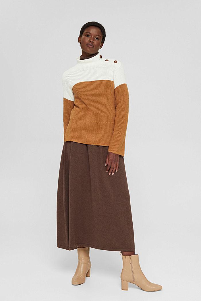 Mit Kaschmir/Wolle: Pullover mit Knopfleiste, OFF WHITE, detail image number 1