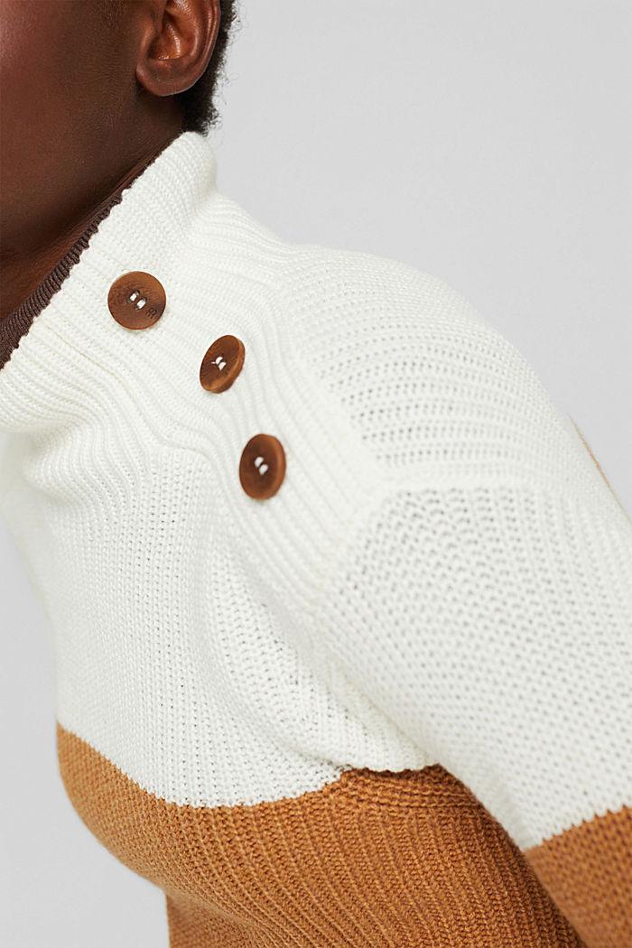 Mit Kaschmir/Wolle: Pullover mit Knopfleiste, OFF WHITE, detail image number 2