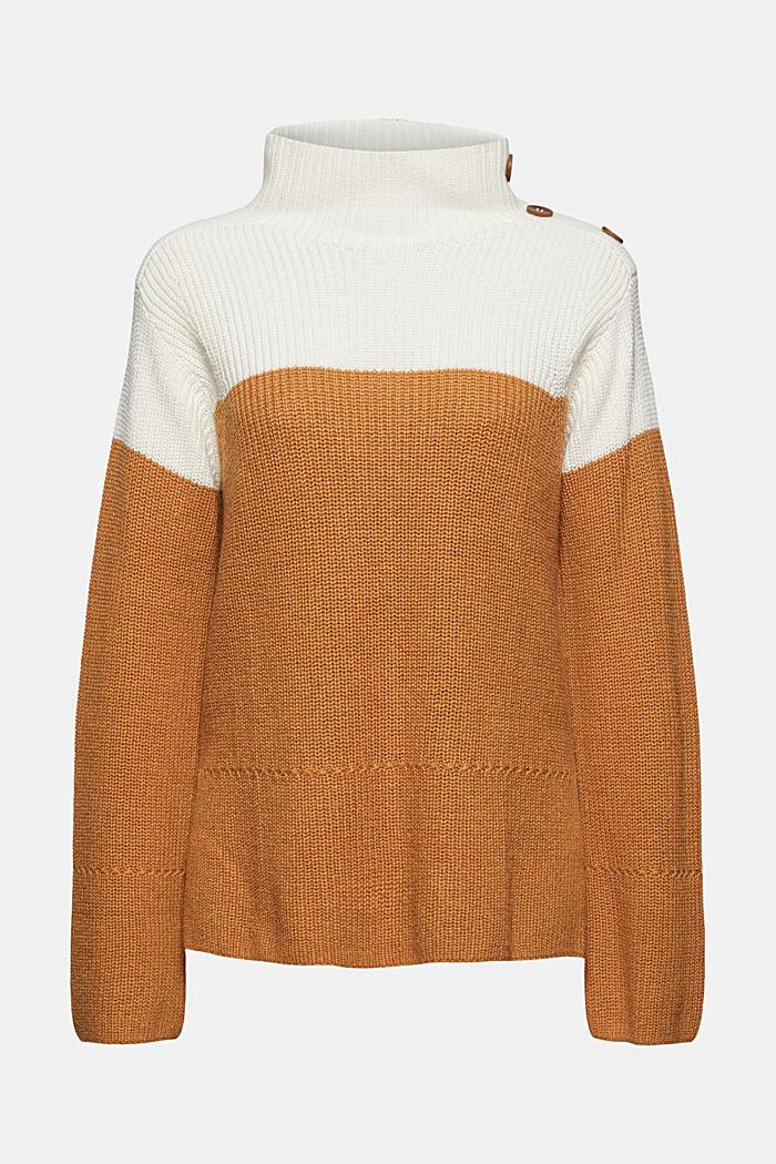 Mit Kaschmir/Wolle: Pullover mit Knopfleiste, OFF WHITE, detail image number 7
