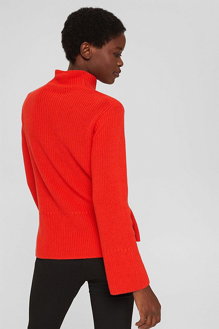 Mit Kaschmir/Wolle: Pullover mit Knopfleiste, ORANGE RED, detail image number 3