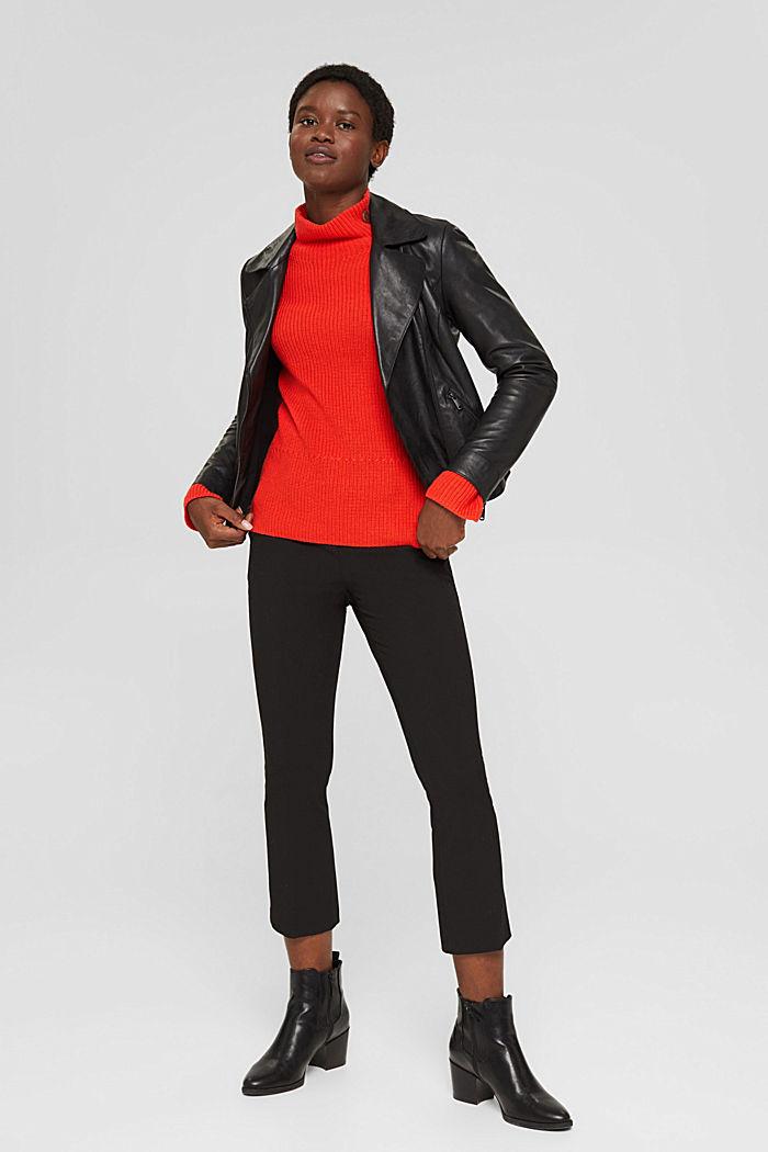 Mit Kaschmir/Wolle: Pullover mit Knopfleiste, ORANGE RED, detail image number 1