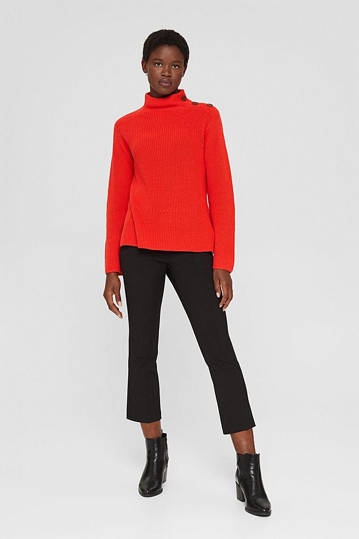 Mit Kaschmir/Wolle: Pullover mit Knopfleiste, ORANGE RED, detail image number 6