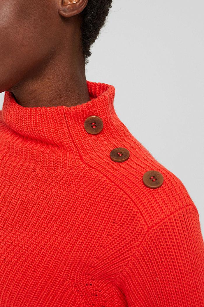 Mit Kaschmir/Wolle: Pullover mit Knopfleiste, ORANGE RED, detail image number 2