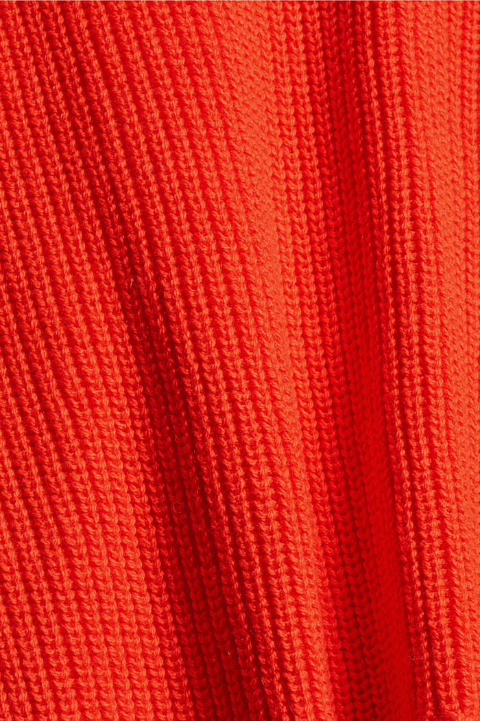 Mit Kaschmir/Wolle: Pullover mit Knopfleiste, ORANGE RED, detail image number 4