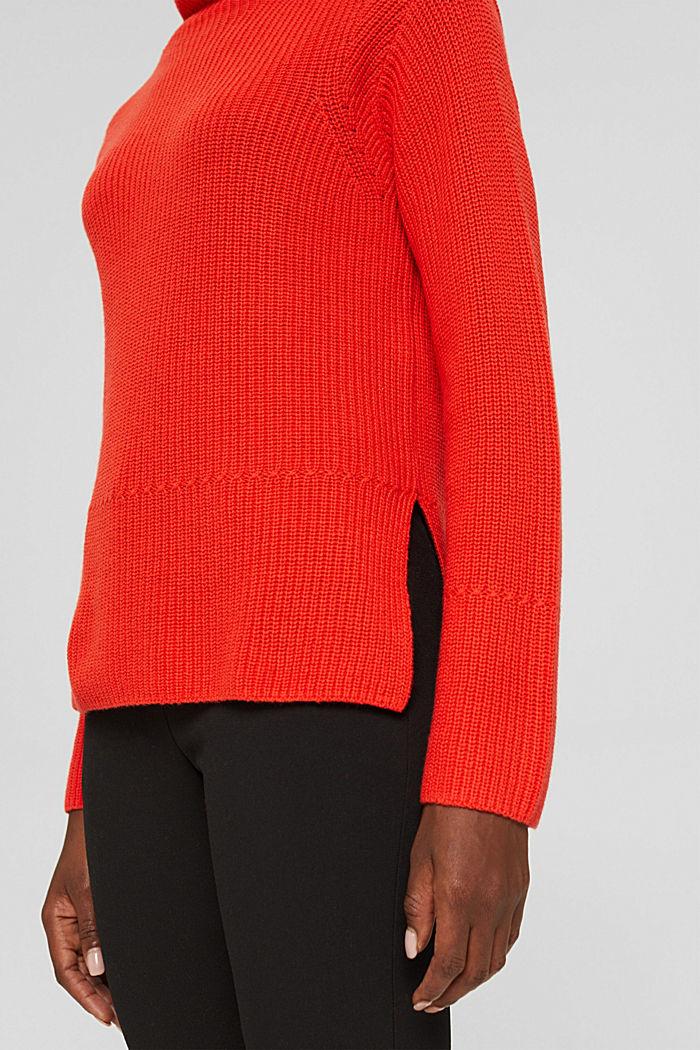 Mit Kaschmir/Wolle: Pullover mit Knopfleiste, ORANGE RED, detail image number 5