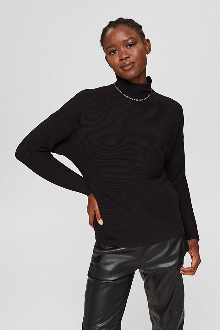 Gerippter Pullover mit LENZING™ ECOVERO™, BLACK, detail image number 0