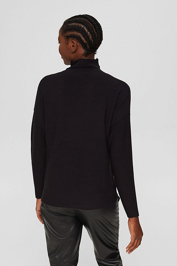 Gerippter Pullover mit LENZING™ ECOVERO™, BLACK, detail image number 3