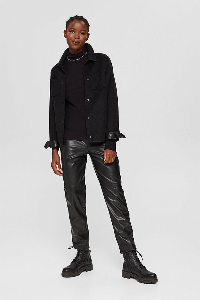 Gerippter Pullover mit LENZING™ ECOVERO™, BLACK, detail image number 1