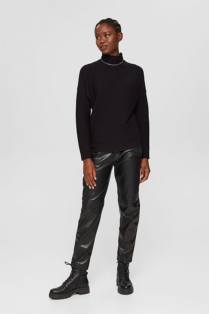 Gerippter Pullover mit LENZING™ ECOVERO™, BLACK, detail image number 6
